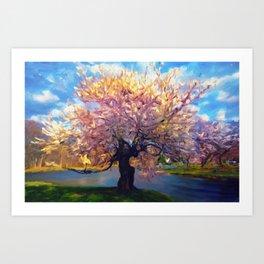 Blooming Tree Impressionist Painting Art Print