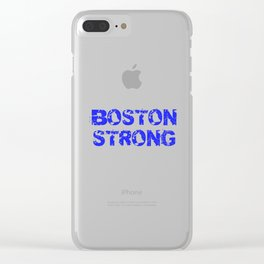 Support BOSTON STRONG Blue Grunge Clear iPhone Case