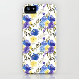 Pastel yellow blue lavender watercolor elegant floral iPhone Case