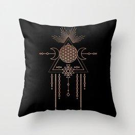 Mandala Flower of Life Rose Gold Pink Throw Pillow