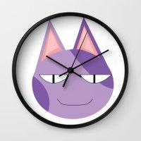 animal crossing Wall Clocks featuring Animal Crossing: Bob by Bradley Bailey