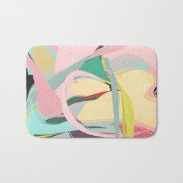 Shapes and Layers no.23 - Abstract Draper pink, green, blue, yellow Bath Mat