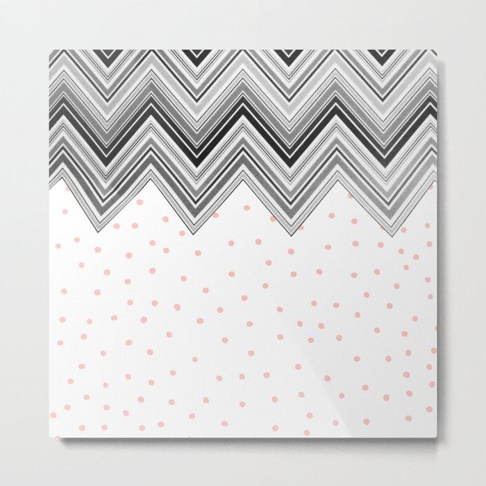 Geometrical black blush pink polka dots chevron Metal Print