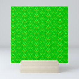 Pattern of intersecting hearts and stripes on a green background. Mini Art Print