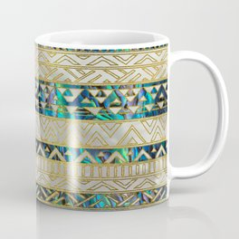 Tribal Ethnic  Pattern Gold on Abalone Shell and Pearl Coffee Mug