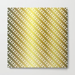 Gold Candy Cane Checker Square Stripe Metal Print