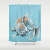 koi fish Shower Curtains featuring Koi Fish by Daydreamer