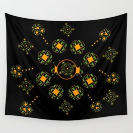 Orange and Green Spaces 115 Wall Tapestry