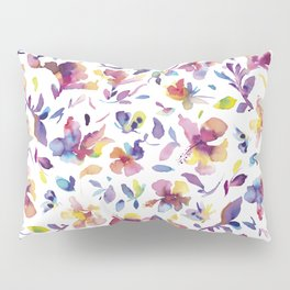 watery hibiscus flowers - Multicolored tropical pattern Pillow Sham