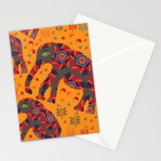 Cute elephants in orange background Stationery Cards