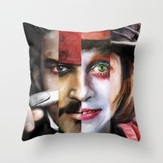 Many Faces of Johnny Depp Throw Pillow