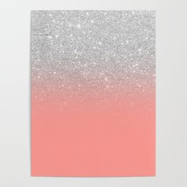 Modern chic coral pink silver glitter ombre gradient Poster