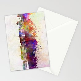 Liege skyline in watercolor background Stationery Cards
