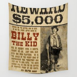 Billy The Kid Mug Shot Wanted Poster Mugshot West Cowboy Vintage Wall Tapestry