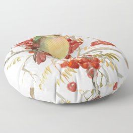Cardinal Bird and Berries Floor Pillow