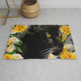 BLACK PANTHER AND YELLOW ROSES Rug