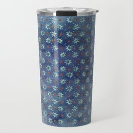 Amazing Watercolor Snowflakes Pattern on the dark blue background Travel Mug