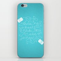old school iPhone & iPod Skins featuring Old School by Heather Doyle