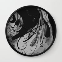 reassurance Wall Clocks featuring Ink II by Magdalena Hristova