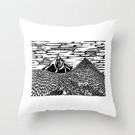 Mountain Block Print Throw Pillow