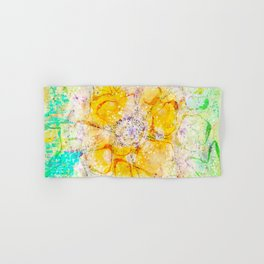 Watercolor Flower Painting, Modern Abstract  Bloom in Orange & Lime Green Hand & Bath Towel