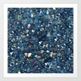 Aqua Blue Aurora Borealis Close-Up Crystal Art Print