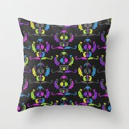 Damask Print Fluoro Throw Pillow