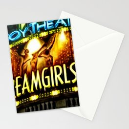 Savoy Theater Marque of Dreamgirls Broadway Musical portrait painting by Jeanpaul Ferro Stationery Cards