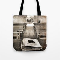 bible Tote Bags featuring Bible Print by Gia Jury
