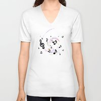 music notes V-neck T-shirts featuring Music Notes by gretzky