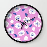 cherry blossoms Wall Clocks featuring Cherry blossoms by Anneline Sophia