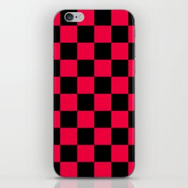 Black and Red Checkerboard Pattern iPhone Skin