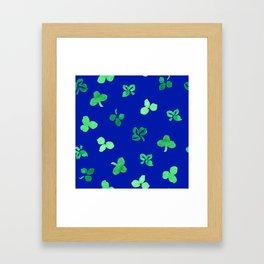 Clover Leaves Pattern on Royal Blue Framed Art Print