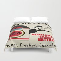 rockabilly Duvet Covers featuring Listen to Rockabilly by Nano Barbero