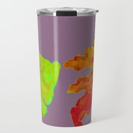 Autumn Leaves in orange, brown, yellow, green on light purple mauve Travel Mug