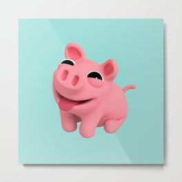 Rosa the Pig Happy Metal Print