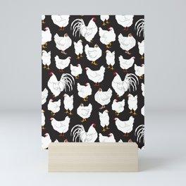 Chickens Barnyard Repeat Pattern Illustration Mini Art Print