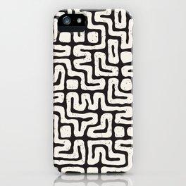 Black & White Geometric Pattern Funky Tribal Maze iPhone Case