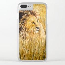 Lion Walking on Wild Field Clear iPhone Case