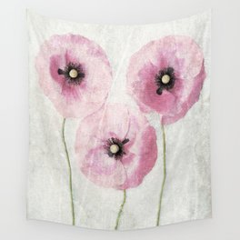 Pink Vintage Poppies Wall Tapestry