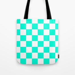 Cheerful Aqua Checkerboard Pattern Tote Bag