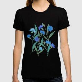 Cornflower field on bright blue T-shirt