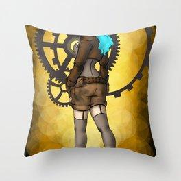 Steam Girl Throw Pillow