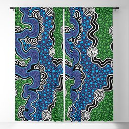 Authentic Aboriginal Art - The River (green) Blackout Curtain