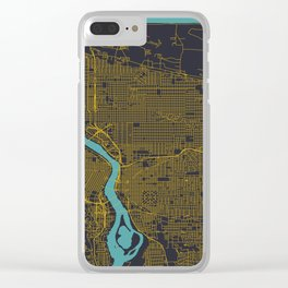 Portland, OR City Map, Yellow/Navy Clear iPhone Case