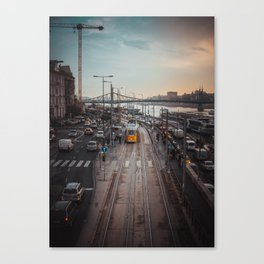 Tram at Sunset from the Elisabeth Bridge Canvas Print