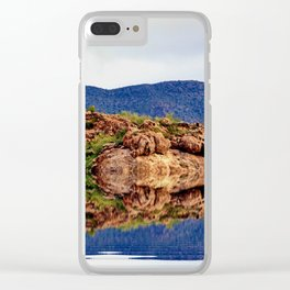 Desert Mountain Reflection Clear iPhone Case