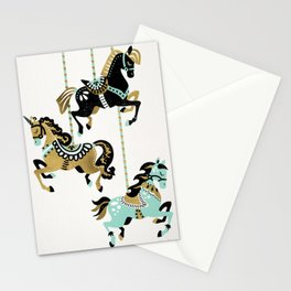 Carousel Horses – Mint & Gold Palette Stationery Cards