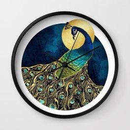 Golden Peacock Wall Clock