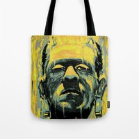 frankenstein Tote Bags featuring Frankenstein by nicebleed
